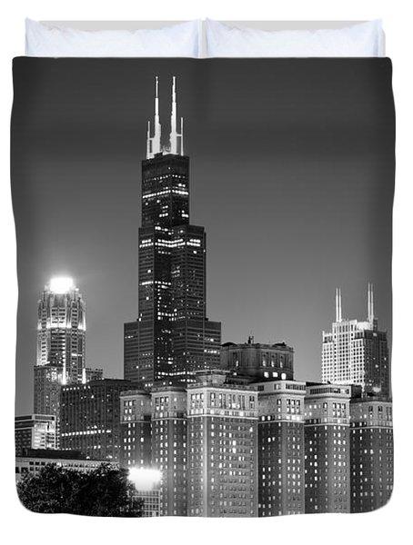 Chicago Night Skyline In Black And White Duvet Cover by Paul Velgos