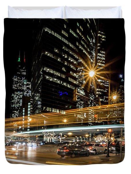 Chicago Nighttime Time Exposure Duvet Cover