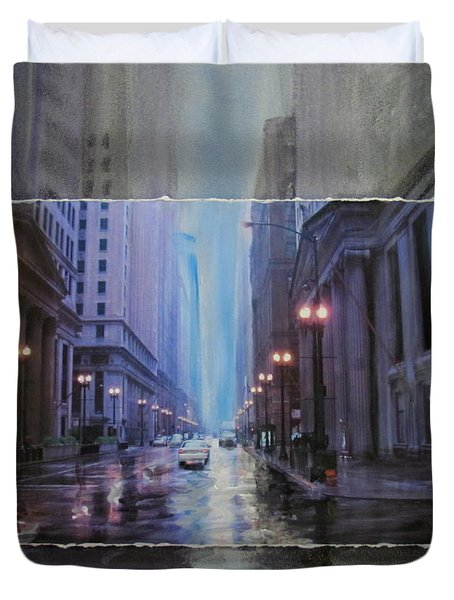 Chicago Rainy Street Expanded Duvet Cover by Anita Burgermeister