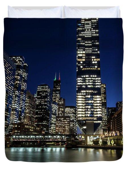 Chicago River And Skyline At Dusk  Duvet Cover