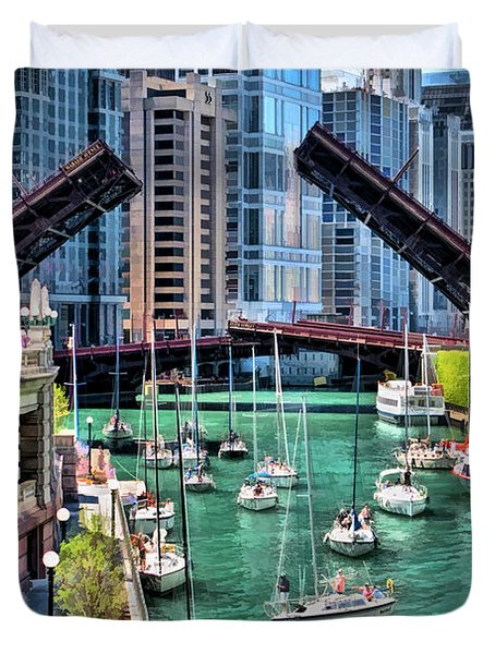 Duvet Cover featuring the painting Chicago River Boat Migration by Christopher Arndt