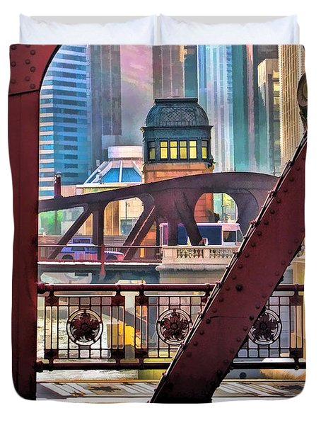 Duvet Cover featuring the painting Chicago River Bridge Framed by Christopher Arndt