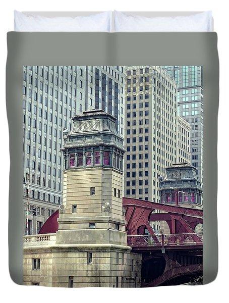 Chicago River Bridgehouse Duvet Cover
