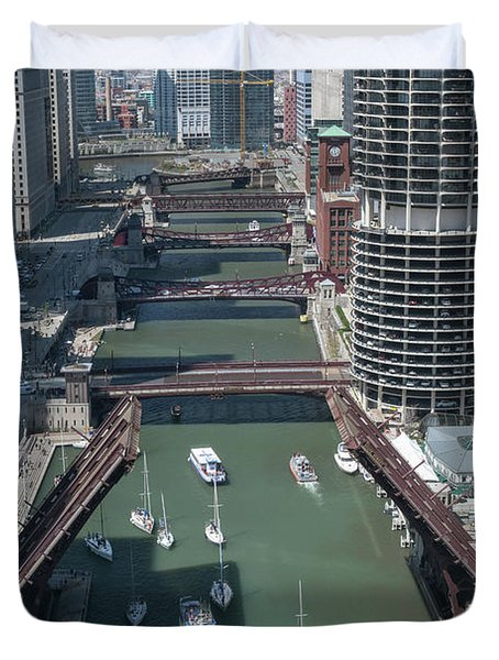 Chicago River Bridgelift Duvet Cover