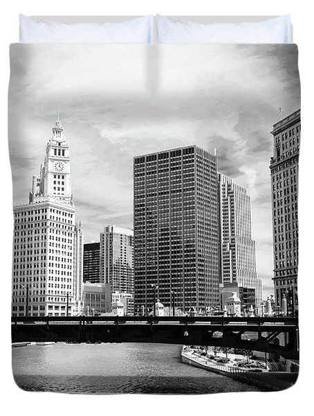 Chicago River Buildings Skyline Duvet Cover by Paul Velgos