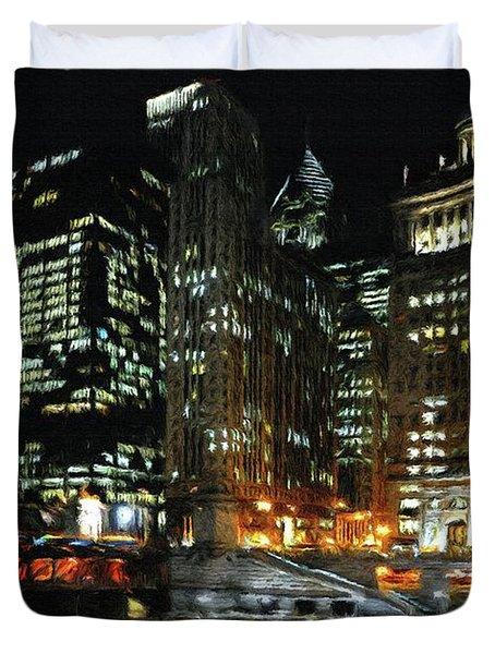 Chicago River Crossing Duvet Cover by Jeff Kolker