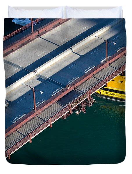 Chicago River Crossing Duvet Cover by Steve Gadomski