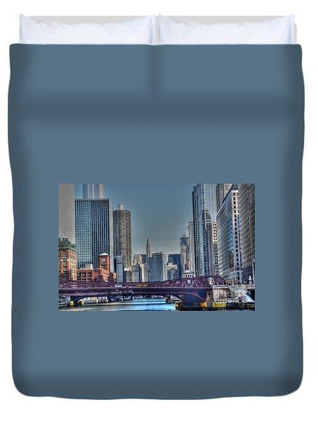 Chicago River East Duvet Cover