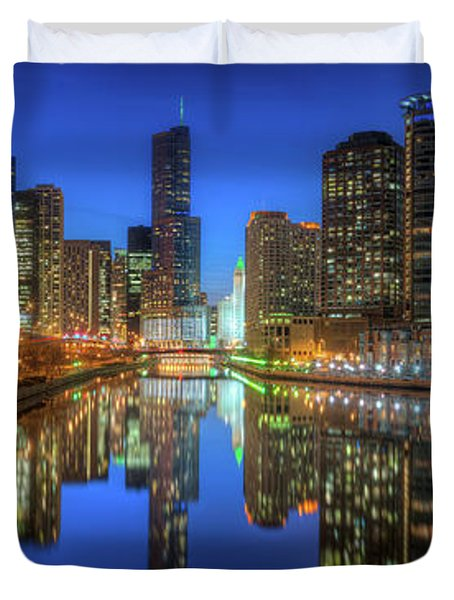 Chicago River East Duvet Cover by Steve Gadomski