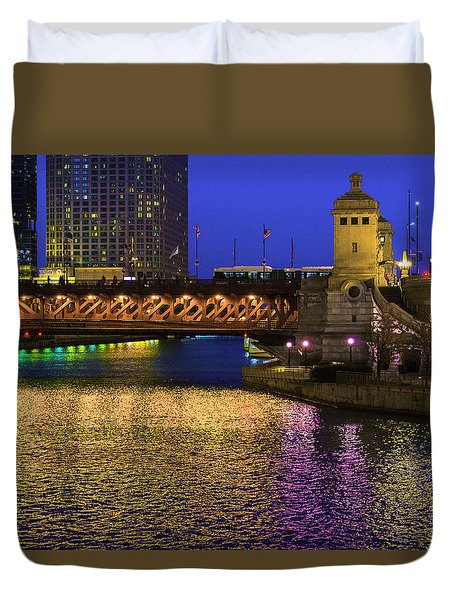 Chicago River Ver2 Duvet Cover by Raymond Kunst