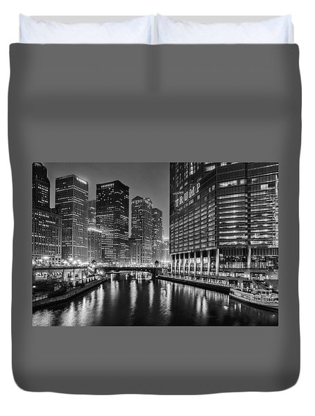 Duvet Cover featuring the photograph Chicago River View At Night by Andrew Soundarajan