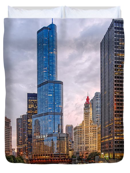 Chicago Riverwalk Equitable Wrigley Building And Trump International Tower And Hotel At Sunset  Duvet Cover