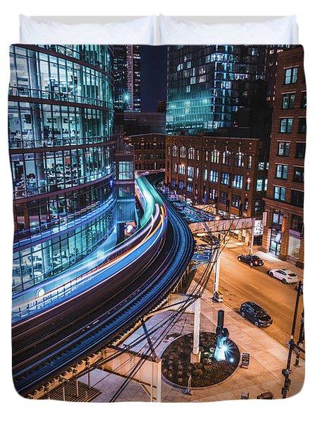 Chicago S Train Duvet Cover