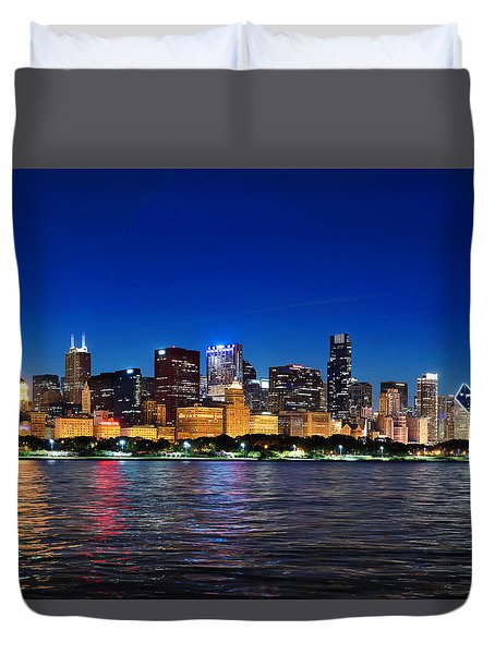 Chicago Shorline At Night Duvet Cover