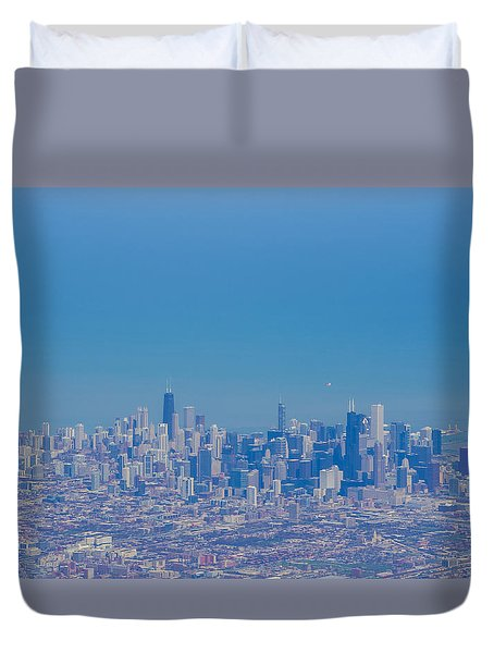 Duvet Cover featuring the photograph Chicago Skyline Aerial View by Deborah Smolinske