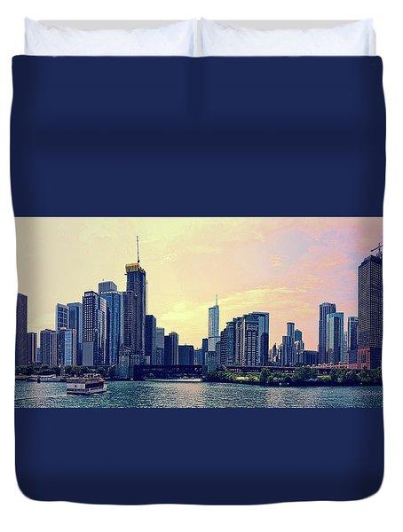 Chicago Skyline And Chicago River Duvet Cover