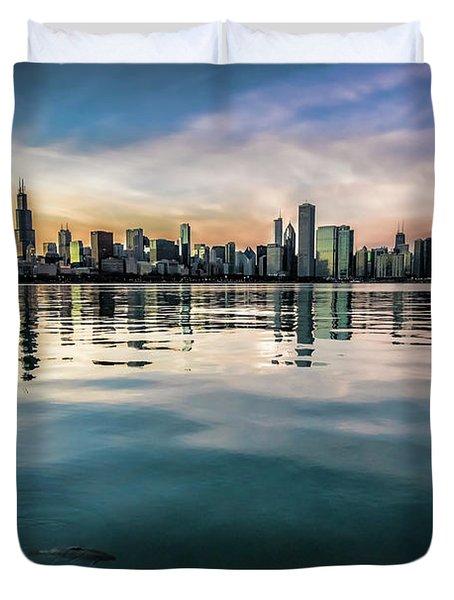 Chicago Skyline And Fish At Dusk Duvet Cover