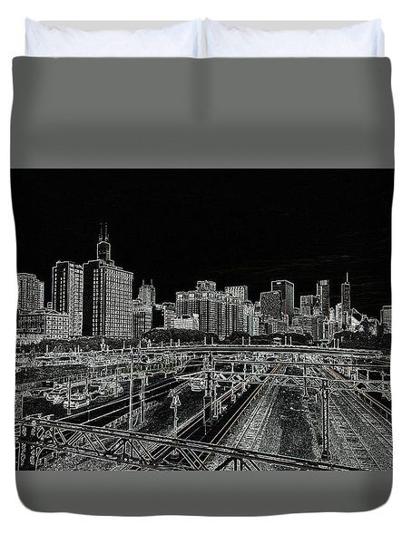 Chicago Skyline And Tracks Duvet Cover