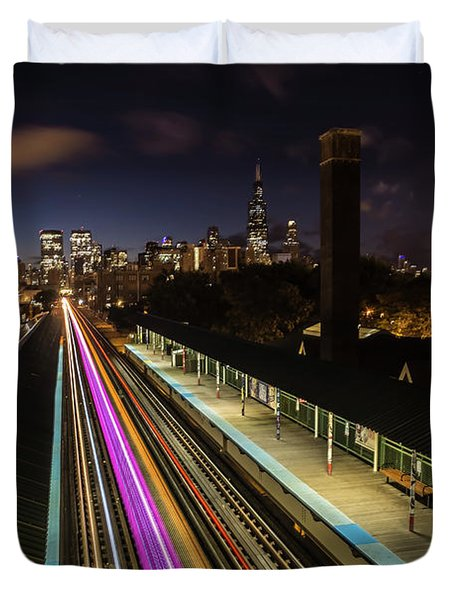 Chicago Skyline And Train Lights Duvet Cover