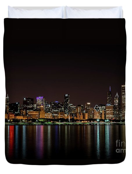 Duvet Cover featuring the photograph Chicago Skyline by Andrea Silies