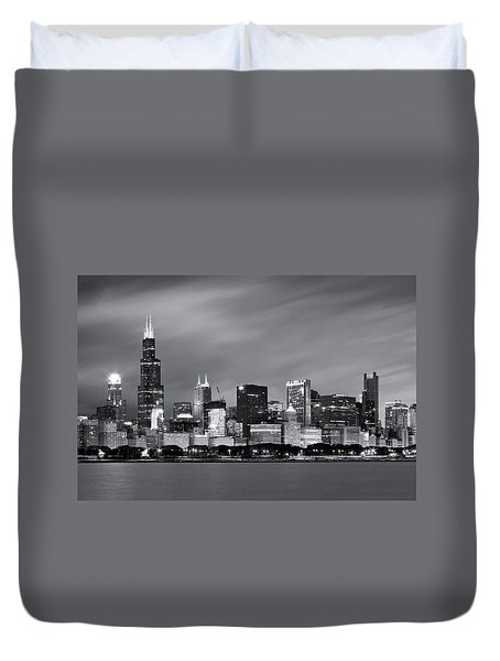 Duvet Cover featuring the photograph Chicago Skyline At Night Black And White  by Adam Romanowicz