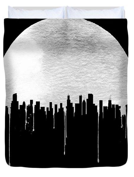 Chicago Skyline Black Duvet Cover