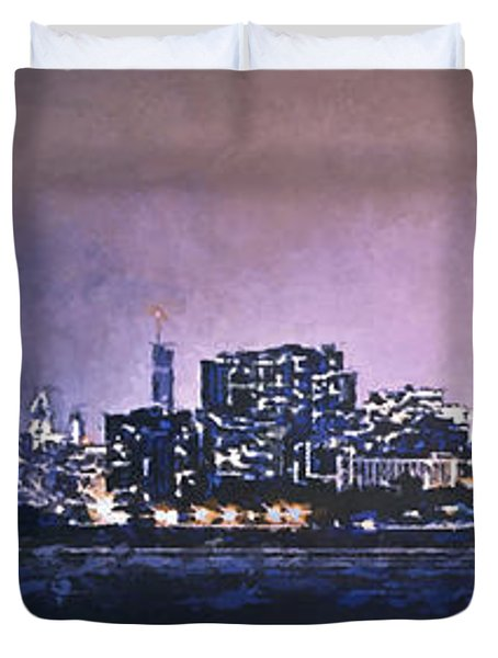 Chicago Skyline From Evanston Duvet Cover by Scott Norris