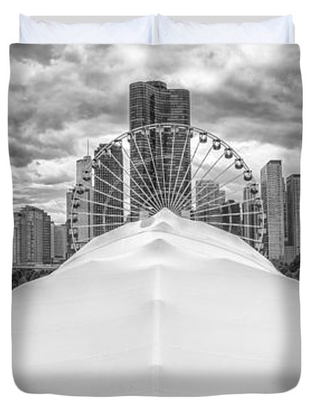 Duvet Cover featuring the photograph Chicago Skyline From Navy Pier Black And White by Adam Romanowicz