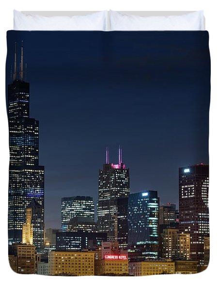 Duvet Cover featuring the photograph Chicago Skyline Go Gubs  by Emmanuel Panagiotakis