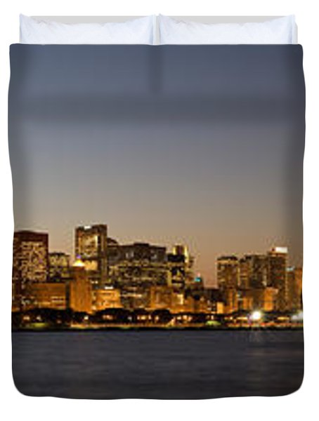 Chicago Skyline Panorama Duvet Cover by Steve Gadomski