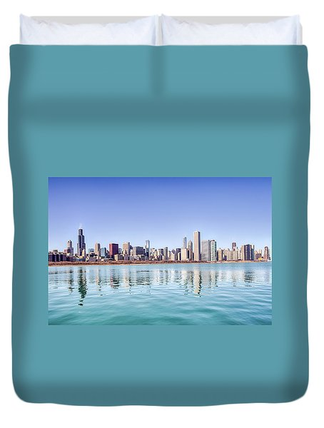 Chicago Skyline Reflecting In Lake Michigan Duvet Cover