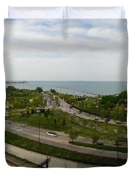 Chicago Skyline Showing Monroe Harbor Duvet Cover
