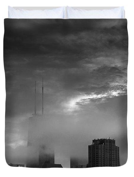Chicago Skyline Storm B W Duvet Cover