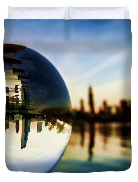Chicago Skyline Though A Glass Ball Duvet Cover