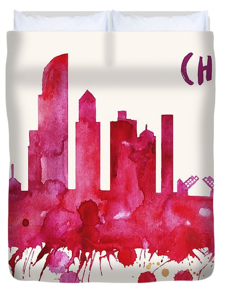 Chicago Skyline Watercolor Poster - Cityscape Painting Artwork Duvet Cover