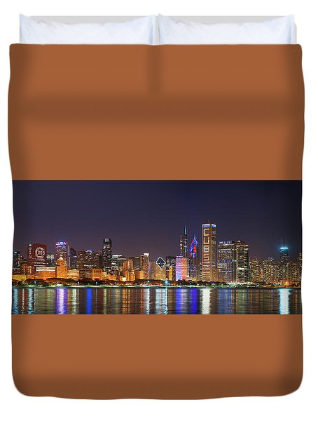 Chicago Skyline With Cubs World Series Lights Night, Chicago, Cook County, Illinois,  Duvet Cover