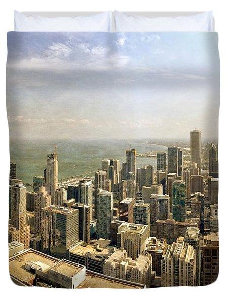 Chicago Skyline With Navy Pier Duvet Cover