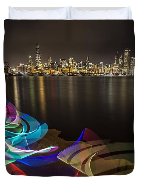 Chicago Skyline With Pixel Stick Painting Duvet Cover