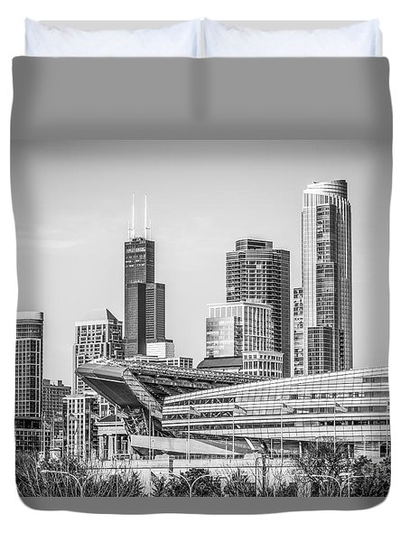 Chicago Skyline With Soldier Field And Willis Tower  Duvet Cover