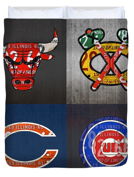 Chicago Sports Fan Recycled Vintage Illinois License Plate Art Bulls Blackhawks Bears And Cubs Duvet Cover by Design Turnpike