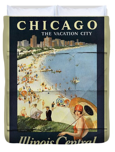 Chicago The Vacation City - Vintage Poster Folded Duvet Cover