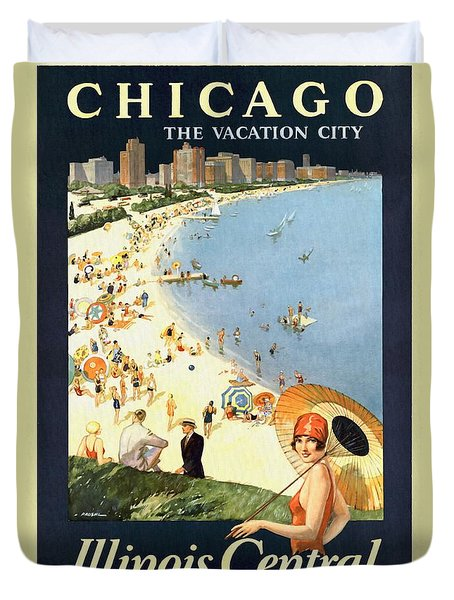 Chicago The Vacation City - Vintage Poster Restored Duvet Cover
