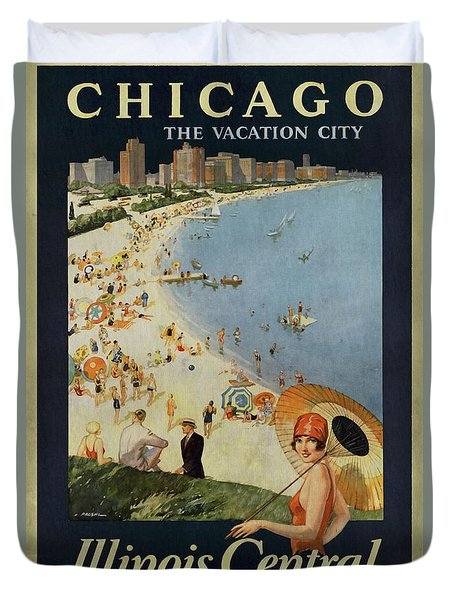Chicago The Vacation City - Vintage Poster Vintagelized Duvet Cover