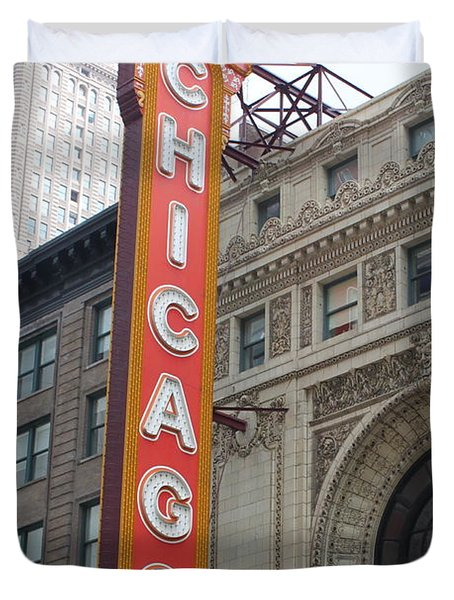 Chicago Theater Sign Duvet Cover by Lauri Novak