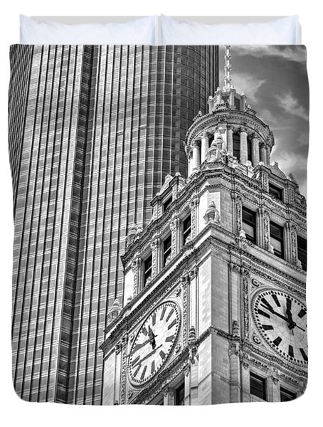 Duvet Cover featuring the photograph Chicago Trump And Wrigley Towers Black And White by Christopher Arndt