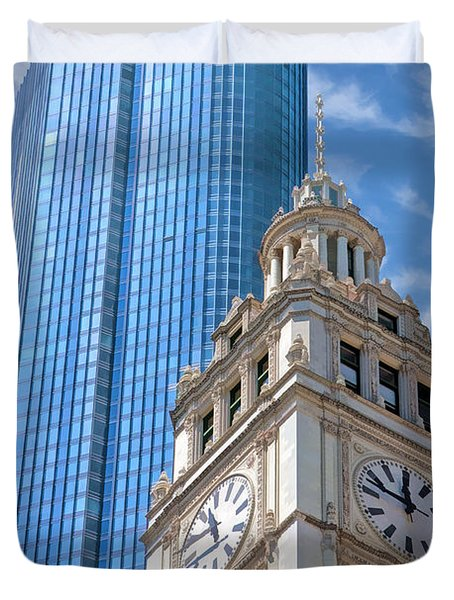 Duvet Cover featuring the painting Chicago Trump And Wrigley Towers by Christopher Arndt