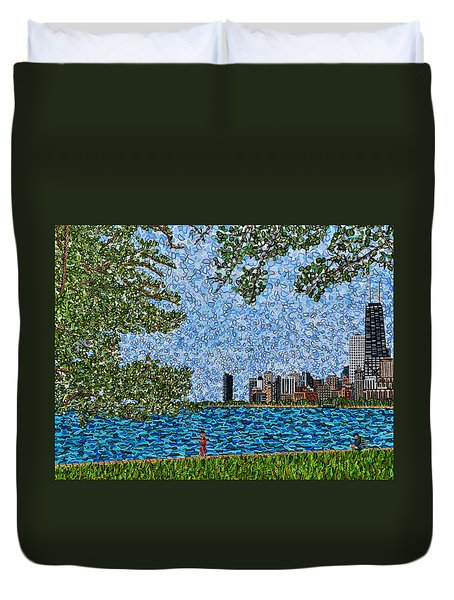 Chicago - View From Lakefront Trail Duvet Cover by Micah Mullen