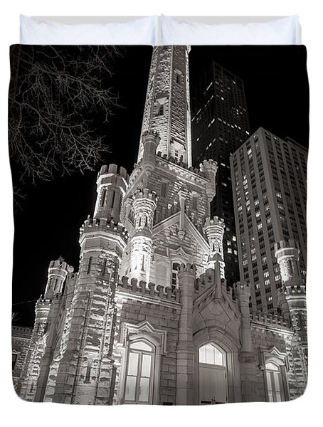 Chicago Water Tower Duvet Cover by Adam Romanowicz