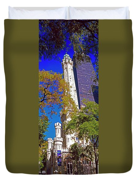 Chicago Water Tower And John Hancock Building 3020200322 Duvet Cover