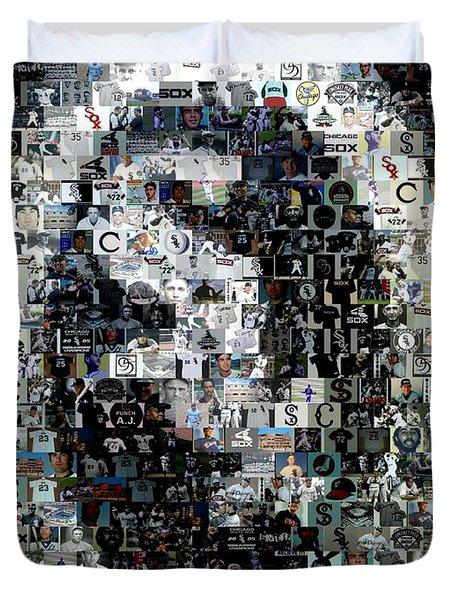 Chicago White Sox Ring Mosaic Duvet Cover by Paul Van Scott